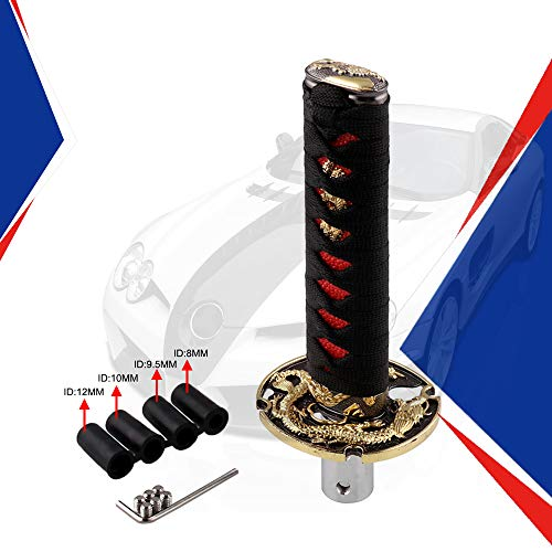 - Ruien Short Samurai Sword Shift Knob Metal Weighted Sport Katana Shifter with 4 Adapters for Universal Cars Black+Red