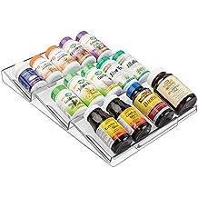 mDesign Adjustable, Expandable Vitamin Rack Drawer Organizer Tray Insert for Bathroom Vanity Drawers - 3 Slanted Storage Shelves - Supplements, Medication - BPA Free, Food Safe - Clear