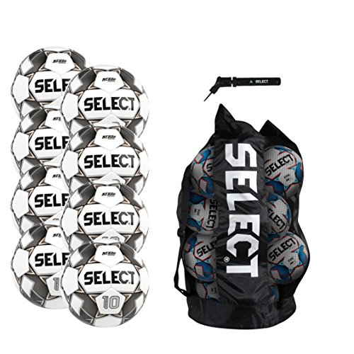 - Select Numero 10 Soccer Ball Package - Pack of 8 Soccer Balls with Duffle Ball Bag and Hand Pump, White/Black/Gold, Size 5