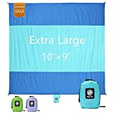 #8: WEKAPO Sand Proof Beach Blanket, Extra Large Oversized 10'X 9', Big & Compact Sand Free Mat Quick Drying, Lightweight & Durable with 6 STAKES & 4 Corner Pockets
