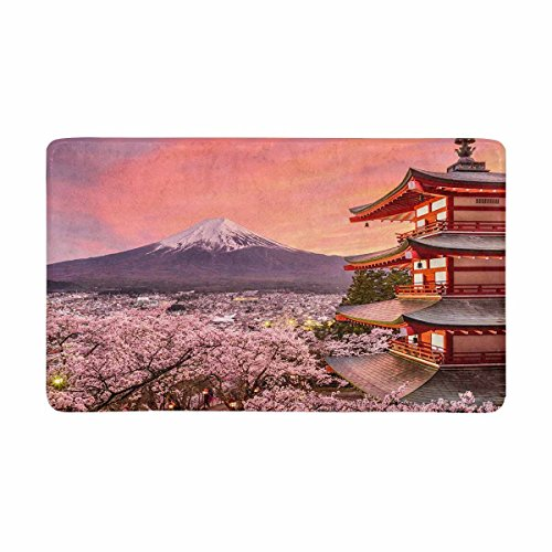 InterestPrint Japanese Chureito Pagoda and Mt. Fuji with Spring Sakura Cherry Blossoms Doormat Anti-Slip Entrance Mat Floor Rug Door Mats Home Decor, Rubber Backing Large 30
