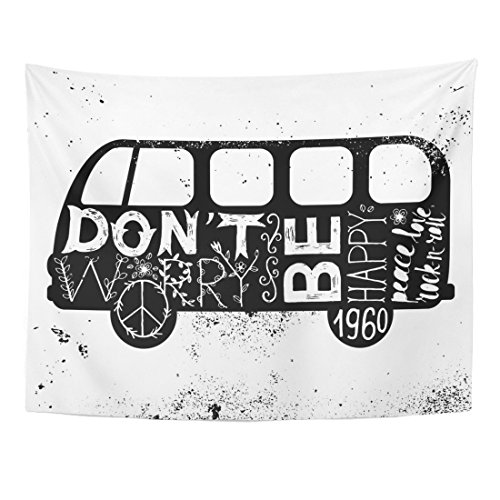 Emvency Tapestry Bus Vintage Hippie Time Decorated Van Don't Worry Be Happy Peace Love Rock N Roll Camper Car Home Decor Wall Hanging for Living Room Bedroom Dorm 60x80 inches ()