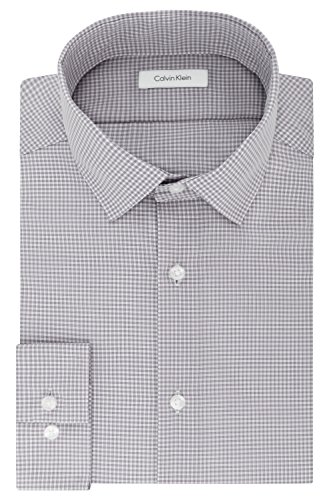Calvin Klein Mens Dress Shirts Non Iron Slim Fit Gingham Spread Collar, Grey, 16
