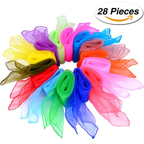 Shappy 28 Pieces Dance Scarves Square Juggling Scarf Magic Scarves, 14 Colors, 24 by 24 Inches (Scarf Fabric)