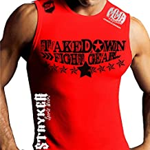 Take Down Fight Gear Stars Mma Customs Muscle Sleeveless Tank Shirt (Large, White)