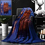 Unique Custom Double Sides Print Flannel Blankets Golden Temple At Night City Lights Holy Shrine Worship For Men And Women Equally P Super Soft Blanketry for Bed Couch, Throw Blanket 50 x 60 Inches