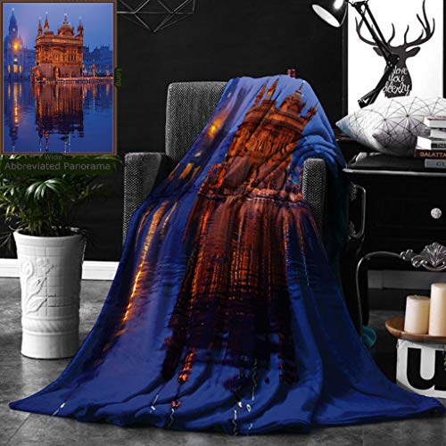 Unique Custom Double Sides Print Flannel Blankets Golden Temple At Night City Lights Holy Shrine Worship For Men And Women Equally P Super Soft Blanketry for Bed Couch, Throw Blanket 50 x 60 Inches by Ralahome