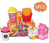 AOLIGE Jumbo Ice Cream Milk Popcorn Coffee Donut Food Squishies Slow Rising Scented Baby Toys Pack of 6