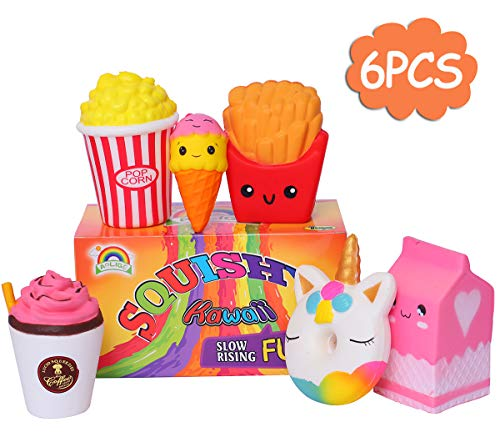 - AOLIGE Jumbo Ice Cream Milk Popcorn Coffee Donut Food Squishies Slow Rising Scented Baby Toys Pack of 6