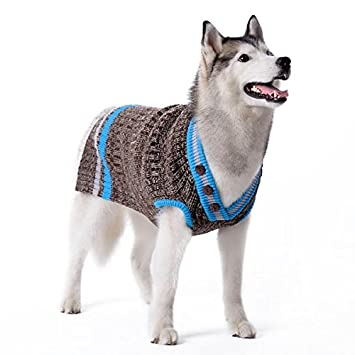 Amazoncom Dogo City V Neck Dog Sweater Blue Extra Large