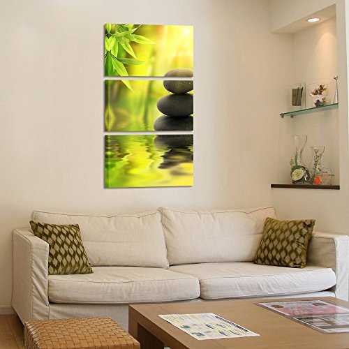 Kreative Arts - Zen Stone Canvas Wall Art Spa Still Life With Green Bamboo Painting Pictures in Garden 3 Panel Vertical Giclee Art Work Contemporary for Home Decoration 12x20inchx3pcs by Kreative Arts (Image #2)