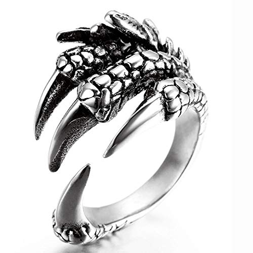 WUSUANED Adjustable Retro Eagle Claw Dragon Claw Opening Ring Gothic Punk Jewelry (Claw R)