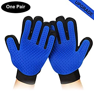 PETINCCN Pet Grooming Glove Gentle Deshedding Brush Bathing Massage Gloves Efficient Pets Hair Remover Mitt Perfect for Dogs & Cats & Horses with Long & Short Fur Enhanced Five Finger Design 1 Pair 37