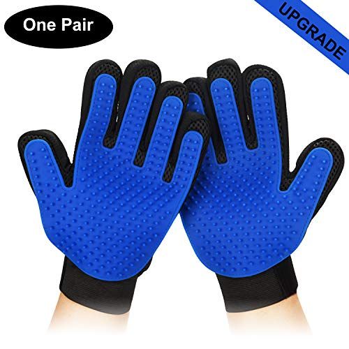 Mitts Remover - PETINCCN Pet Grooming Glove Gentle Deshedding Brush Bathing Massage Gloves Efficient Pets Hair Remover Mitt Perfect for Dogs & Cats & Horses with Long & Short Fur Enhanced Five Finger Design 1 Pair