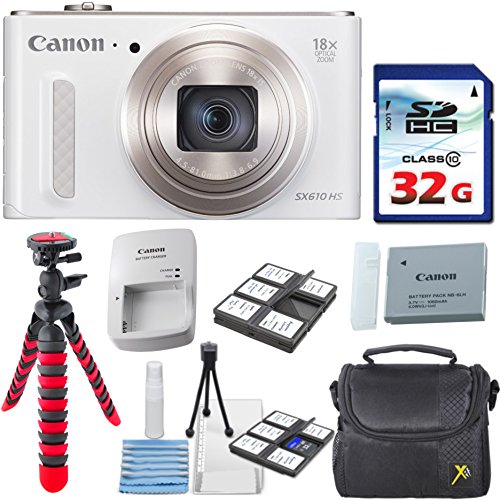 Canon PowerShot SX610 HS - Wi-Fi Enabled (White) with 32GB High Speed Memory Card + Deluxe Camera Case + Flexible Spider Tripod + Starter Kit + Deluxe Accessory Bundle