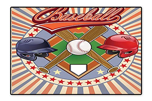 Indoor/Outdoor Rug Retro Pop Art Style Baseball Logo with Vertical Striped Setting Bat and Ball Game Match Print Easy Clean Resistant 5'x7'