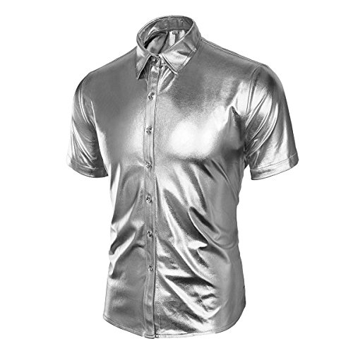 Men's Nightclub Metallic Silver Button Down Short Sleeves Shirts Fashion Shinny Slim Disco Dance Tops Costume Party Clubwear (X-Large, Short Sleeve Silver) -