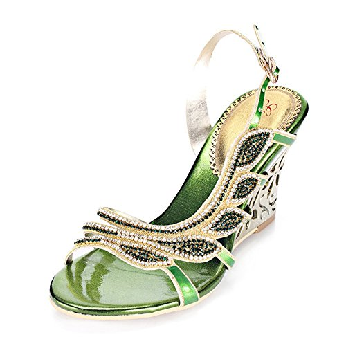 Zapatos de Mujer de Microfibra Primavera Verano Nuevas Sandalias de Diamantes de Imitación de Tacón Alto Punta Abierta para Vestido Casual Un