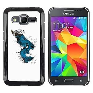 Paccase / SLIM PC / Aliminium Casa Carcasa Funda Case Cover - Teal Abstract Peacock Bird White - Samsung Galaxy Core Prime SM-G360
