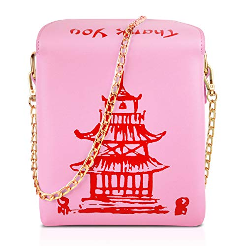g, Ustyle Chinese Takeout Box Style Clutch Bag Cellphone Container Tiny Satchel Funny and Unique Shoulder Bag Birthday Gift Card Case Fashionable Bag costume for teens (Pink) ()