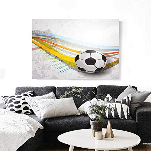Vintage Daisy Football Canvas (Warm Family Teen Room Decor Modern Canvas Painting Wall Art Soccer Background with Football Colorful Lines Sports Game Digital Display Art Stickers 36