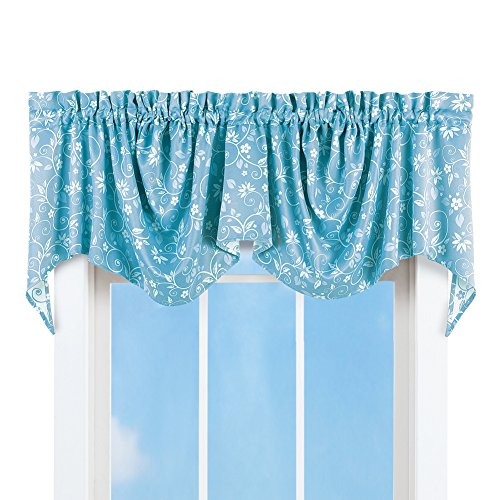 Collections Etc Floral Scroll Draped Window Curtain Valance, Blue