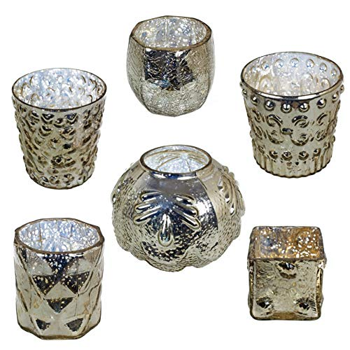 - MISC 6 Piece Mercury Glass Candle Holder Set. Vintage Metallic Silvery Gold Votive Tealight Holders, Glamorous Elegant Six Assorted Sizes Different Designs Aged Patina Silver