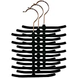 Home Basics 3-Pack Velvet Tie Hanger, Black