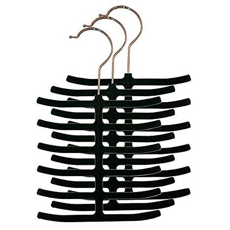 Home Basics Velvet Tie Hanger, Black, 3-Pack HDS Trading FH01149