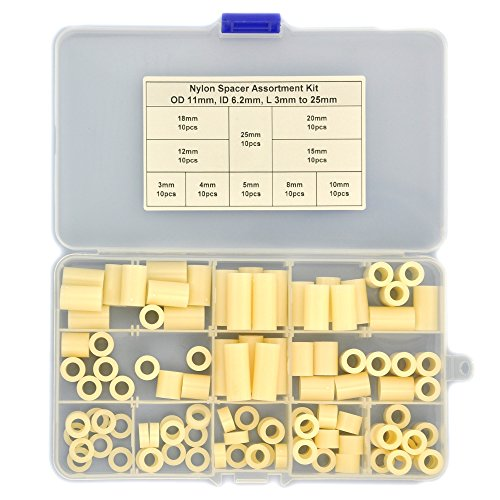 Electronics-Salon Plastic Round Spacer Assortment Kit. OD 11mm, ID 6.2mm, L 3 to 25mm, for M5 Screws. Length 3mm 4mm 5mm 8mm 10mm 12mm 15mm 18mm 20mm 25mm, Plastic ABS Standoff.