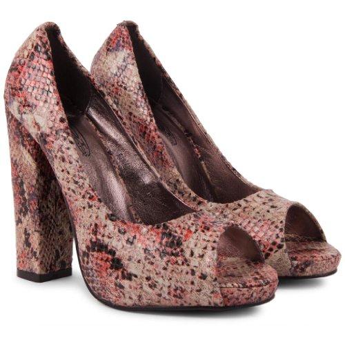 Footwear Sensation - punta abierta de sintético mujer rojo - Red Multi Snakeskin