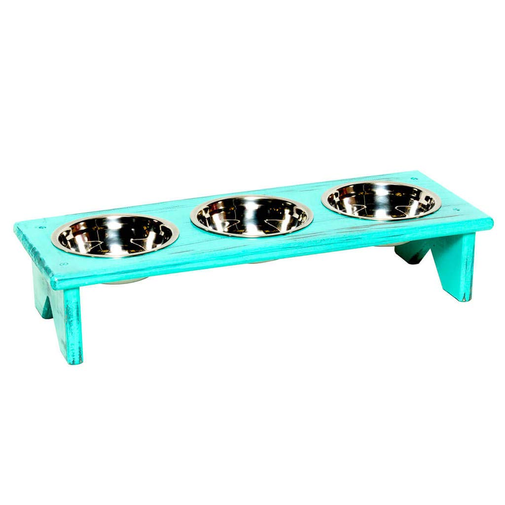 Wenge M Wenge M Dog Bowl and Cat Bowl Stand Wooden 3 Bowls Same Size Bowls M Wenge Raised Bowls for Kibble, Wet Food and Water
