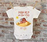 Farm Help On The Way Barn Customized Onesie, Baby Shower Gift, Customized Onesie, Pregnancy Announcement, Pregnancy Reveal Onesie