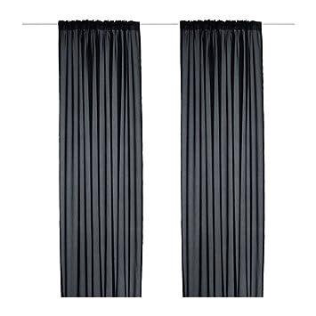 Ikea Rideaux Vivan 2 Rideaux Noirs 300 X 145 Cm Amazonfr