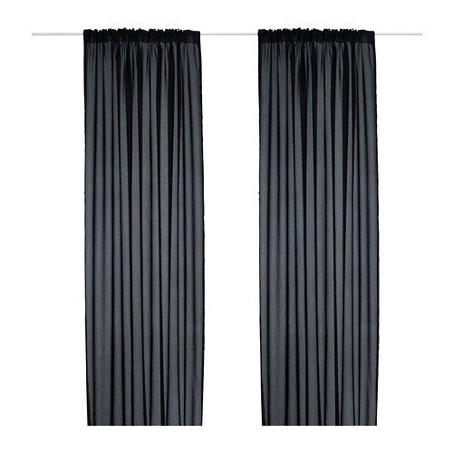 IKEA VIVAN Curtain Set Black - 2 Curtains 300 x 145 cm with Tunnel Hem, Covered Loops and Heading Tape on Upper Edge by Ikea