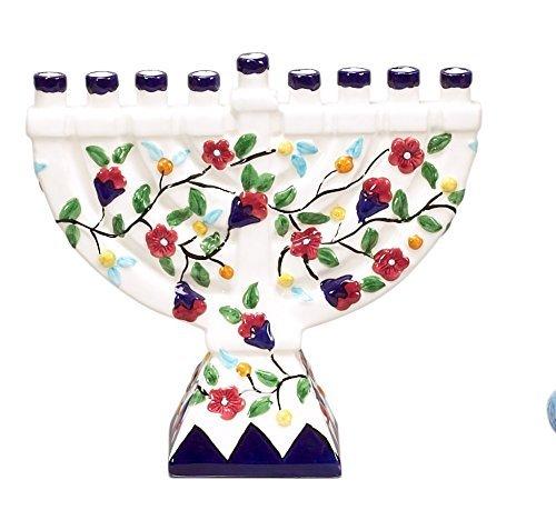 Hanukkah Menorah for Hanukkah Candles Chanukah Party White Ceramic & Flowers 8''x8 1/2''