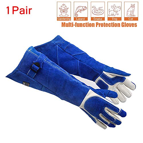 (21.6IN Scratch/Anti-bite Resistant Protective Gloves- Animal Handling Gloves Bite Proof,Safe and Durable Gloves,Breathable Canvas Lining for Dog Cat Bird Snake Falcon Parrot Lizard Snake Wild Animals)
