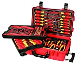 insulated tool set - Wiha 32800 Insulated Tool Set with Screwdrivers, Nut Drivers, Pliers, Cutters, Ruler, Knife and Sockets in Rolling Tool Case, 80-Piece Set