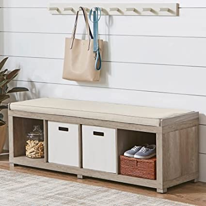 Better Homes Gardens 4 Cube Organizer Storage Bench   Rustic Gray (Rustic  Gray)