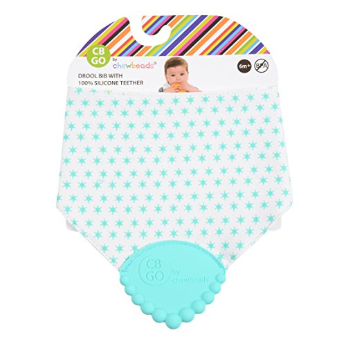 CB GO By Chewbeads Baby Cotton Drool Bib with 100% Silicone Teether - Sheriffs Badge