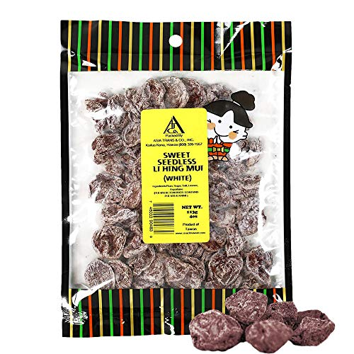 Asia Trans Sweet Seedless Li Hing Mui Crack Seed Plums | Hawaiian Favorite | Naturally Sweet Dried Asian Plum Candy (4 ()