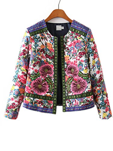BabySea Ethnic Floral Print Paisley Jacket New Womens Vintage Thin Padded Jacket Coats