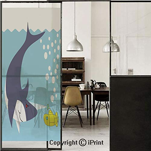 (Yellow Submarine 3D Decorative Film Privacy Window Film No Glue,Frosted Film Decorative,Shark with Vessel in Ocean Bubbles Under Sea Theme Animals Cartoon,for Home&Office,17.7x70.8Inch Blue Gray Yello)