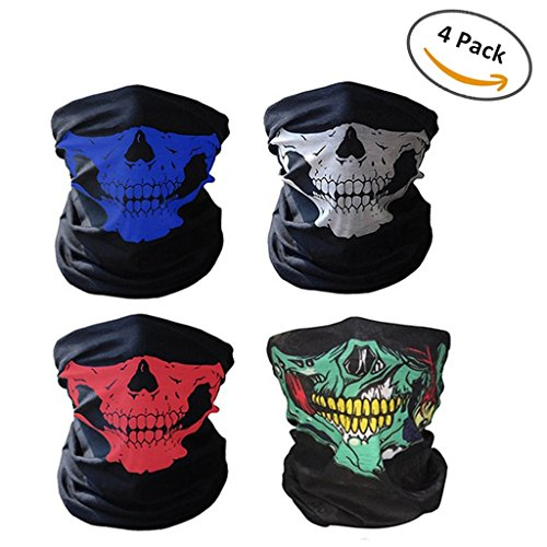 Price comparison product image Swesy 4 Pack Seamless Tube Skull Cycling Face Mask - Breathable Dust-proof Windproof Tube Face Mask Half Face for Outdoor Riding
