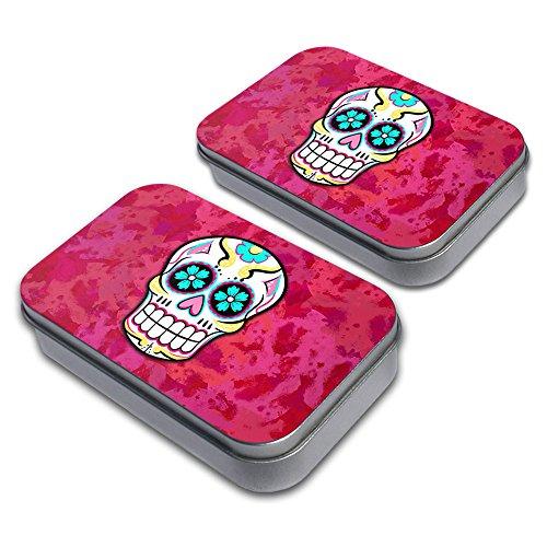 Sugar Skull Decorative Craft Trinket Metal Tin Box Set of 2 (Trinket Tin)