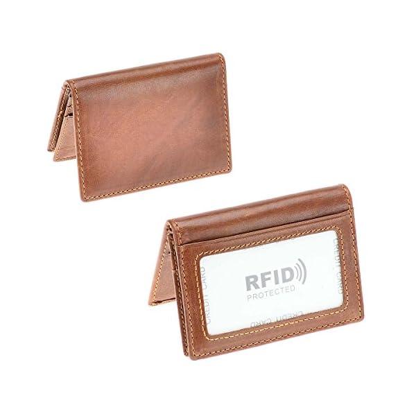 HAWEE Men's Bifold Front Pocket Wallet Genuine Leather RFID Blocking Card Billfold
