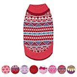 Blueberry Pet 8 Patterns Fair Isle Style Sugar Coral Pullover Dog Sweater with Valentine Heart, Back Length 12'', Pack of 1 Clothes for Dogs