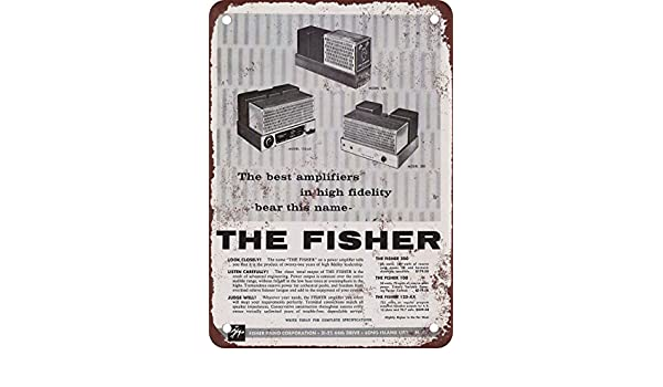 1958 Fisher amplificadores reproducción de aspecto Vintage Metal placa metálica, 12 x 18 inches: Amazon.es: Hogar