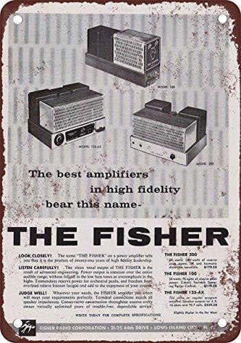 1958 Fisher amplificadores reproducción de aspecto Vintage Metal placa metálica, 12 x 18 inches