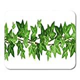 Deglogse Gaming Mouse Pad Mat, Plant Vine Garland Green Ivy Leaves on White Leaf Mouse Pad, Desktop Computers mats
